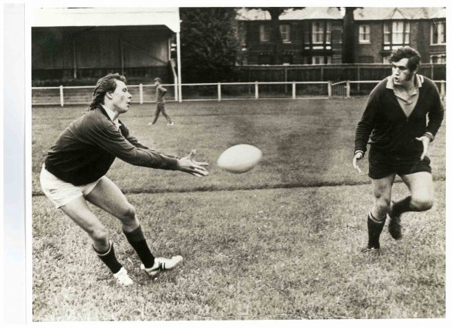 Photograph of Andrew-JL-Fielding-and-Mike-Burton-training-night-at-Kingsholm-1969-70