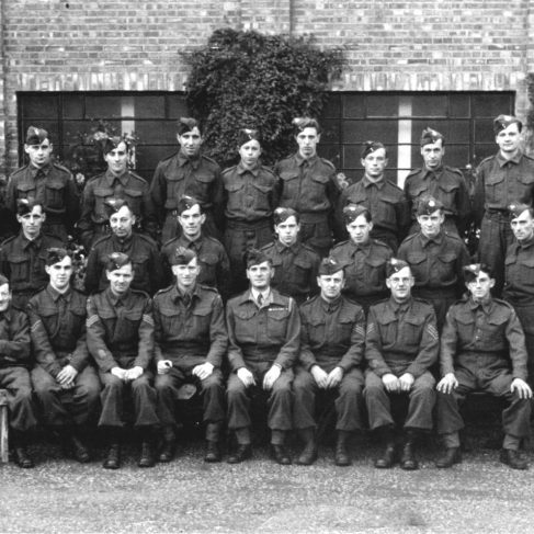 RT018 No. 42 Platoon - Home Guard. Oct 1944.  Ralph is standing behind the officer (front centre).  | The Ralph Tucker Collection