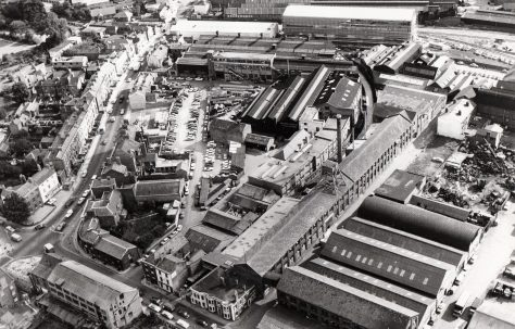Aerial photographs of Fielding & Platt and Gloucester Cathedral, c.1970