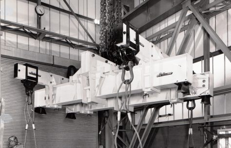 Photographs of 100 ton lifting apparatus being prepared for a test lift in the 'New' Heavy Assembly Shop, Part 3 of 3