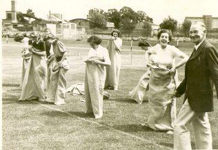 This photograph was taken at a Fielding & Platt Sports Day Sack Race.  Reading L to R: Marjorie Trueman, Jean Hebberd, Mollie Parker, Jean Aitken, Lori Pickard and Bill Thomas.