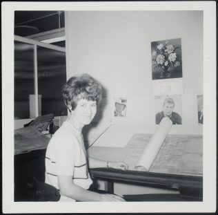 Joy at her drawing board in 1965