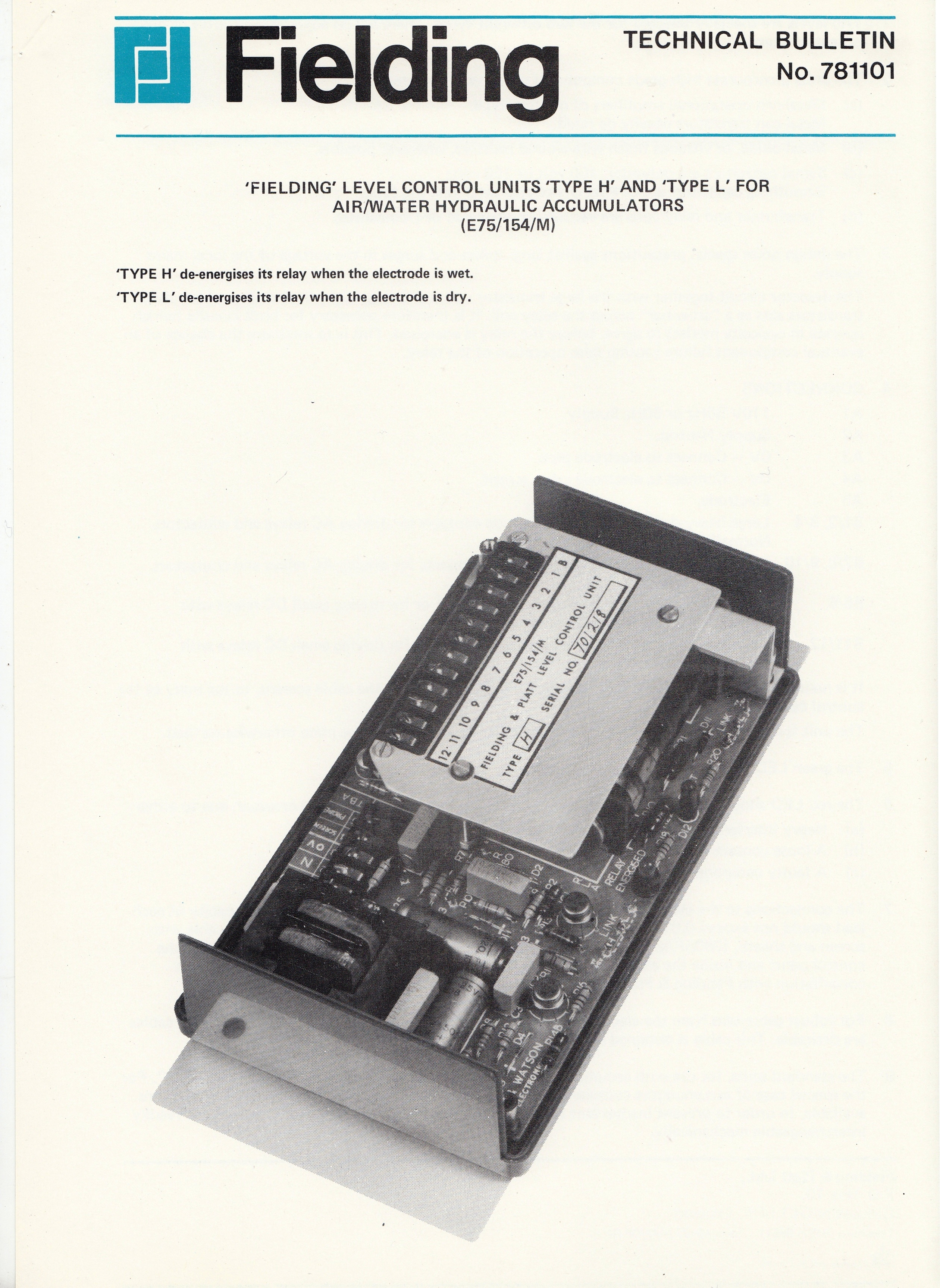 Technical Bulletin 781101 C1970s 1970s And Later Leaflets Electronic Level Control Relay Zoom