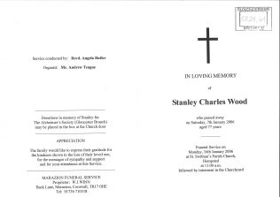 Photo of Order of service for Stan Wood, pages 1 and 4