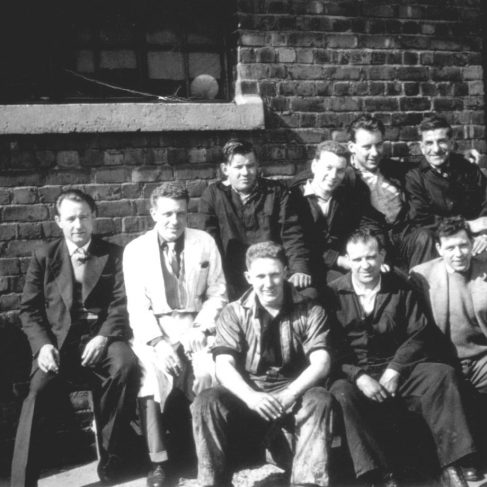 RT033  Group photo 1961.  L to R: Tony Clark; Jack Garrington; Back Row: Noddy Bennett; Terry Cooper; Alan Baker; Local labourer; Front Row: John Worgan; Tony Barton; Ralph Tucker    | The Ralph Tucker Collection