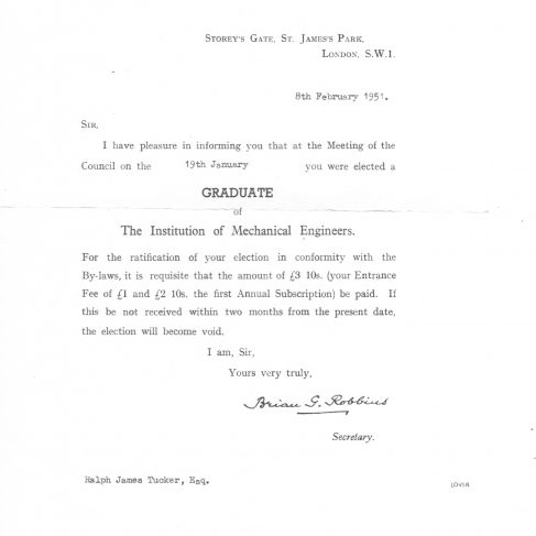 RT036    Letter of election as a Graduate to the Institute of Mechanical Engineers 19 January 1951 | The Ralph Tucker Collection