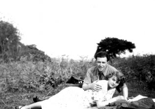 RT025  Doug & Edith on a hill near Flaxley Abbey, 27 May 1951. (Doug and possibly Edith worked at F&P).  | The Ralph Tucker Collection