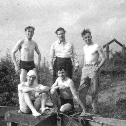 RT026  on the canal bank after a swim, photo taken by Ken Barrow 4th July 1951. L to R (standing): Len Drew; Stan Medcraft; Morgan Walton. L to R (foreground): Ron Green; Ralph Tucker. | The Ralph Tucker Collection