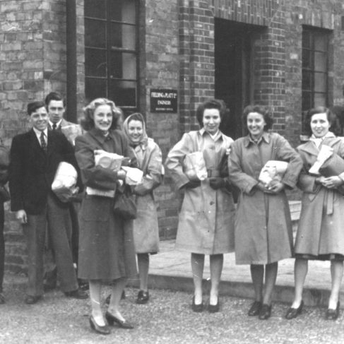 RT029  A gathering of staff.  What was in the parcels, I wonder? From L to R: Wilf Wrench; Ralph Tucker; Len Drew; Jean Stephens; J Carter; L Malley; M Workman; J Broady; J Aiken | The Ralph Tucker Collection
