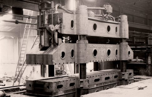 1500 ton Hydraulic Chassis Frame Flanging Press, views taken on site c.1945, O/No. 6775, c.1932