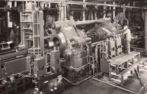 1500 ton Horizontal Extrusion Press, view taken during erection c.1940, O/No. 8738, c.1939