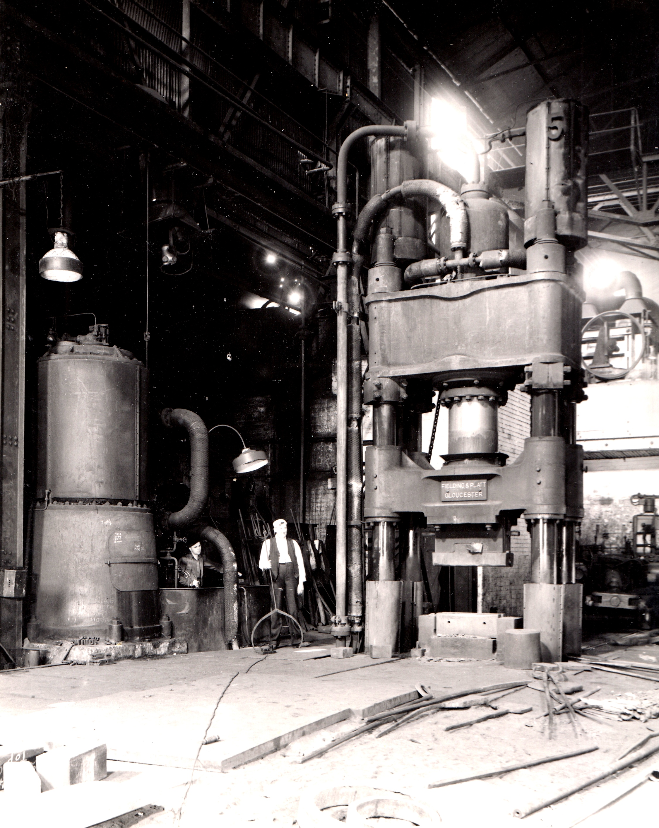 800 ton Forging Press with steam driver, view taken on site