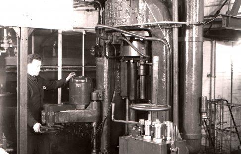 500 ton Vertical 'Serck' Extrusion Press,  Wembley, view taken on site in 1941, O/No. 8294, c.1938