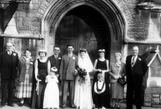 Photograph of the wedding of Jean and Doug Allen. The bridesmaid is Di Hewlett, sister of Tony Barton who worked at F&P . | kindly supplied by John Davis