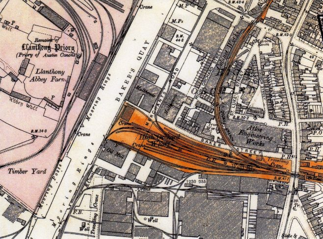 Photo 05.  A site plan of the factory and rail track distribution throughout the dock area. Year unknown.  Note also the tram rails on Southgate street!