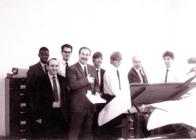 Photo 12.      Lynden Dennis  ; Graham Vallender; ?; Alan Allsop; Steve Price; John Leyfield; Ramsey Harris ;  ?  .