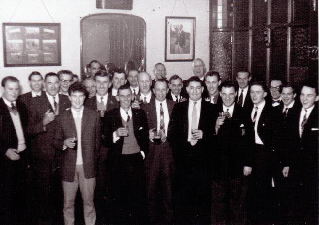 Photo 14. Just a few easily identifiable:  L to R: Gerry Williams; Sid Jenkins; Bert Ravenhill; Lionel lane; Roy Pegler; Arthur Rigby; Bill Norton; Geoffrey Morton, c.1950s. Occasion and location unknown.