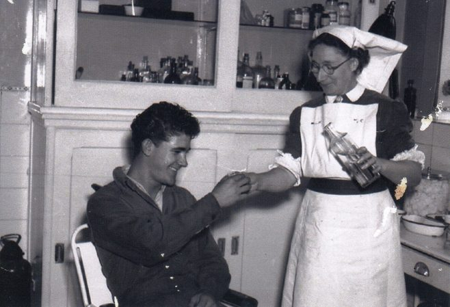 Photo 15.  The First Aid Room c.1950. Treatment for Ray Hecquet, bruised knuckles probably!