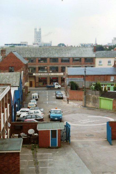 Photo 17.   A view from the old Photographic Department, top floor looking down on Church Street with the Office entrance and Colwell's Garage to the left.