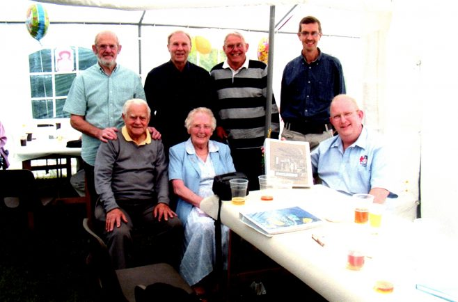 Photo 22.  Iris Richards 90th birthday - June 2003, with John Davis; Ken Daniell; George Claridge and Tim Lodge, (standing),  Bob Madeley. Iris and Paul Regester (seated).