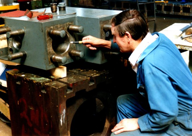 Photo 24.  John Mabbett, working on an Accumulator Outlet Stop Valve Block in the New Fitting Shop.
