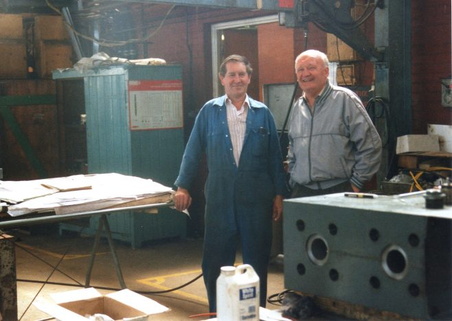 Photo 26.  John Mabbett & Les George in the New Fitting Shop.