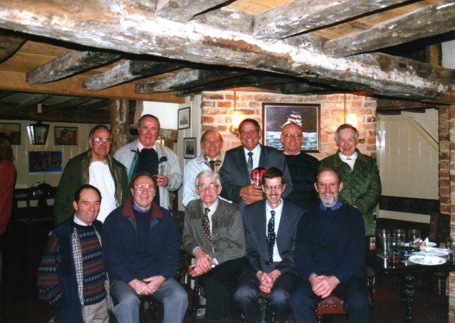 Photo 36. L to R (rear): John Ansley; Clarence Hack; Lionel Lane; George Claridge; Norman Davenport; Brian Billingham. L to R (front): Lionel Longney; Ken Daniell; Sid Jenkins; Tim Lodge; John Davis.