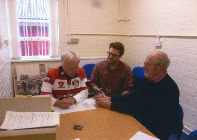 Photo 84.  Brian Mince, Ollie Taylor and John Davis recording in the Gloucestershire Archives.