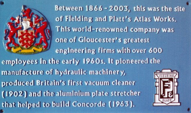 Photo 85.  Close-up of the commemorative Blue Plaques, prior to location at the entrances to the Gloucester Quays shopping outlet.