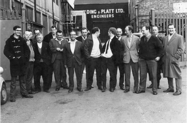 Atlas picket line ready for action! Maurice Goddard standing on the far right. | Kindly supplied by Richard Goddard
