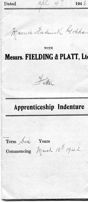 Maurice F Goddard - Apprenticeship Indentures 18th March 1942 - 4th April 1946 | Kindly supplied by Richard Goddard