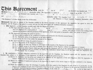 Apprentice Indentures Agreement | Kindly supplied by Richard Goddard