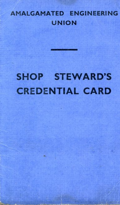 A.E.U. - Union Card | Kindly supplied by Richard Goddard