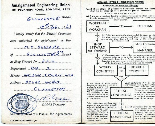 Brother Maurice Goddard appointed as A.E.U. Shop Steward 12/2/63 | Kindly supplied by Richard Goddard