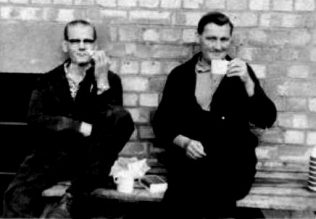 Taking a break with fellow workmate Bob Bolton, Maurice Goddard on the right. | Kindly supplied by Richard Goddard