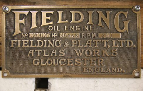 Fielding 95 BHP Oil Engine Nameplate, Serial No. 020027