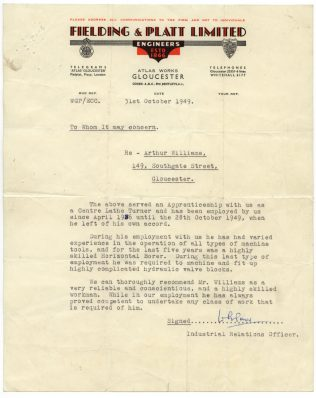 Reference for Arthur Williams written by Bill Prior   T A Williams