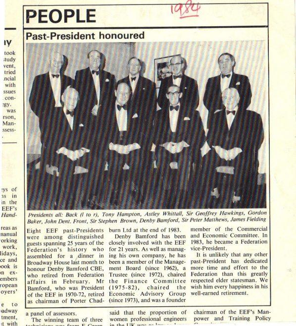 FJ Fielding , Past President. Engineers Employers Federation. | Andrew J.L Fielding.