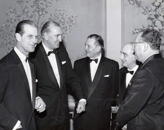 Left to right, HRH Duke of Edinburgh. F James Fielding is 3rd from the left | Andrew J.L. Fielding.