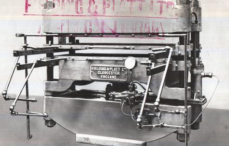 130 ton Hydraulic Press for Laminate Glass, O/No. 5410, c.1930