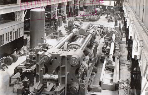 3500 ton Horizontal Extrusion Press, view showing partial erection with a set of hydraulic control valves, O/No. 9698, c.1941