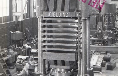1800 ton Multi-Daylight Vertical Hot Platen Press, view taken at erection, O/No. 9171, c.1940
