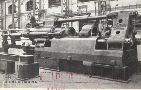 Schloemann Direct/Indirect Horizontal Extrusion Press  for solid and tube extrusion, c.1942