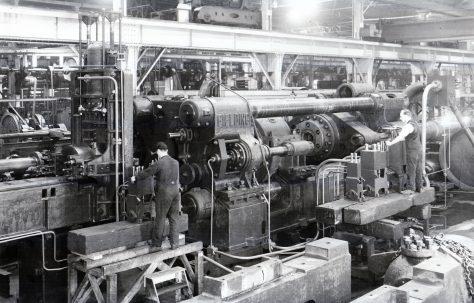 3500 ton Horizontal Extrusion Press, views taken at erection and on site, c.1943, O/No. 9698, c.1941