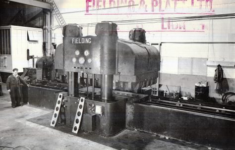 3700 ton Four Column Rubber Die Press, views taken on site c.1943, O/No. 9449, c.1941