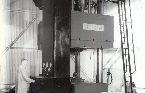 1000 ton Double Action Press, views taken on site, with samples of pressings, O/No. 9328, c.1941