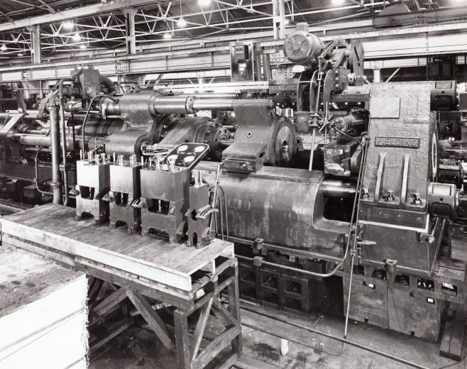 1500/1700 ton Horizontal Tube Extrusion Presses for direct & indirect processes, O/No. 4080, c.1942