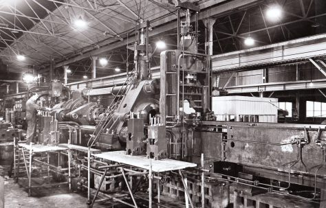 2000 ton Horizontal Extrusion Press for solids, views taken under construction and on site, O/No. 4242, c.1943