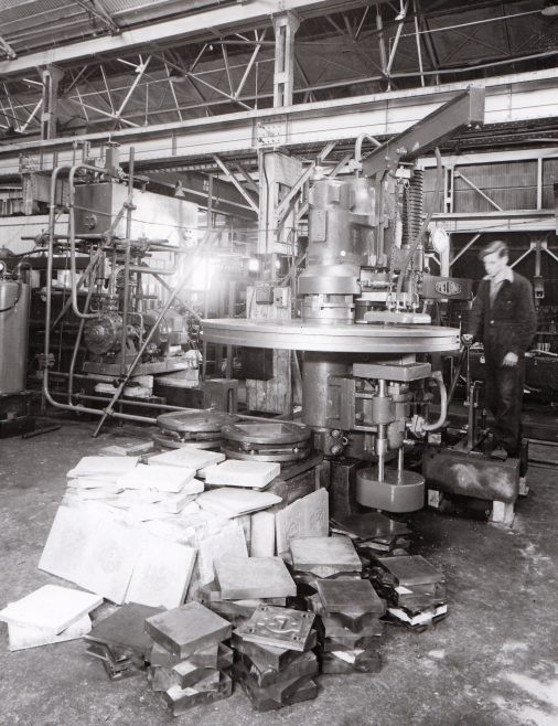 240 ton 4 Mould Tile Press, views taken during assembly and on site, O/No. 4449, c.1943