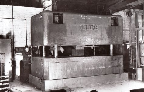 150 ton Vertical Four Column Upstroking Press, view taken on site, O/No. 9933, c.1942